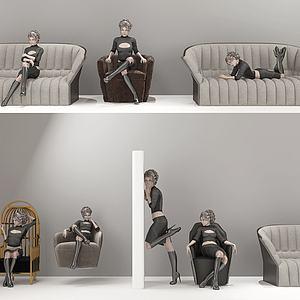 现代多人沙发组合模型