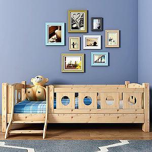 现代实木儿童床?#19968;?#32452;合模型