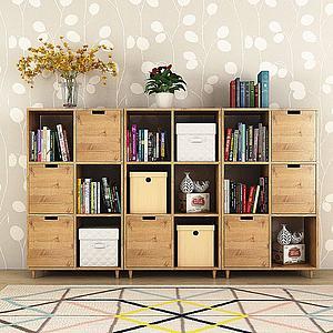 现代实木书柜书籍花瓶组合模型