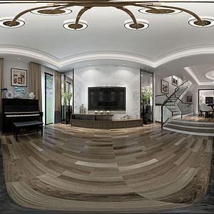 中式別墅客廳餐廳模型3d模型