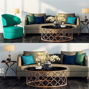 现代轻奢沙发组合模型