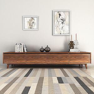 美式实木边柜模型