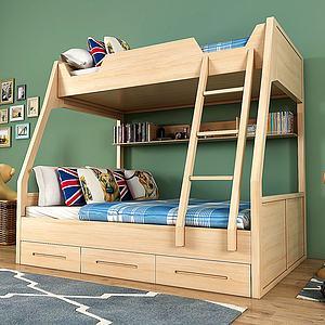 现代实木儿童上下床模型