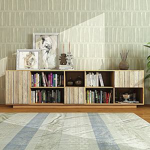 现代实木边柜书籍摆件组合模型