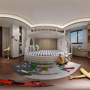 現代兒童房兒童床3d模型