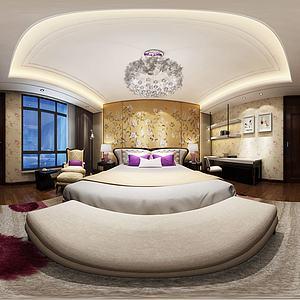 中式臥室雙人床3d模型