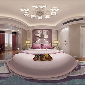 歐式臥室雙人床3d模型