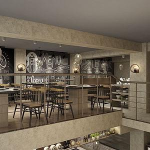 自助餐廳餐館模型3d模型