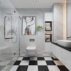 現代廚房臥室衛生間模型3d模型