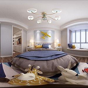 美式简约男孩房3d模型
