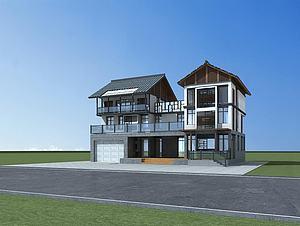 中式别墅3d模型