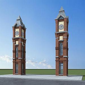 歐式鐘樓模型3d模型