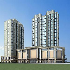 现代高层建筑商业街模型3d模型