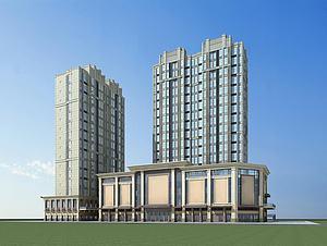 现代高层建筑商业街3d模型