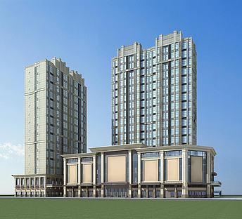 现代高层建筑商业街