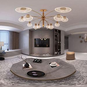 现代简约客厅餐厅3d模型