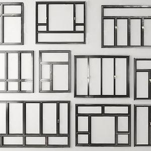 现代建筑铝合金窗户组合模型