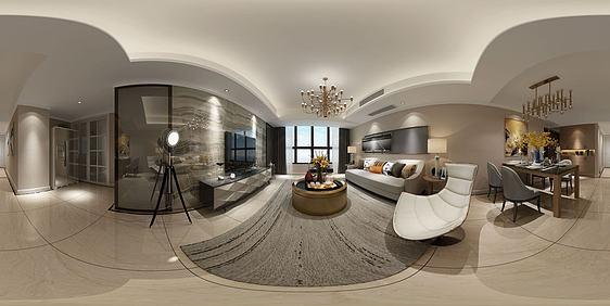 3d现代风格客餐厅全景模型