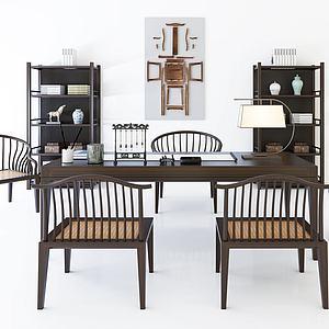新中式茶桌椅3d模型
