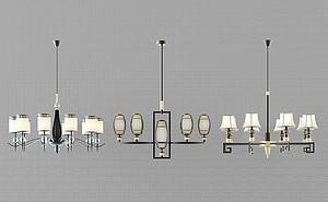 3d时尚吊灯组合模型