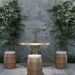 現代戶外桌椅竹子模型3d模型