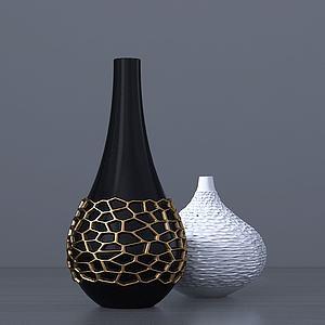 現代黑白陶瓷花瓶模型3d模型