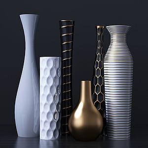 現代陶瓷花瓶組合模型3d模型