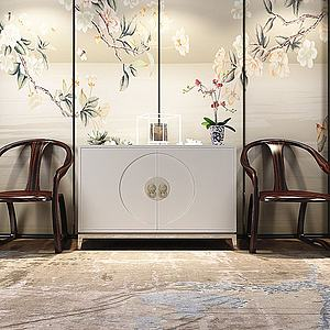中式端景柜單椅模型3d模型
