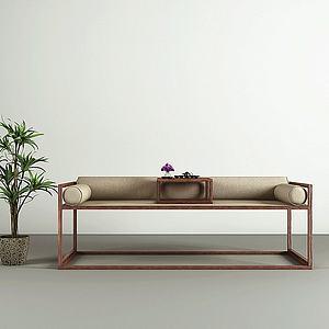 中式实木沙发茶桌模型