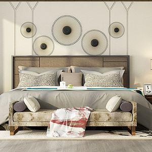 卧室双人床组合模型