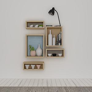 简约时尚木质壁柜模型3d模型