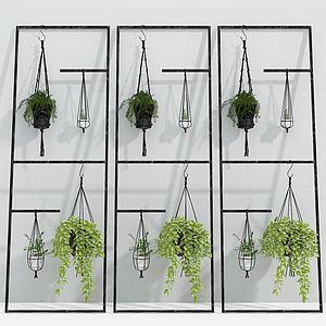 现代铁艺花架吊兰组合模型