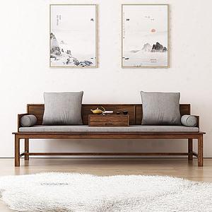 中式沙发茶座模型