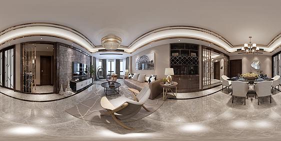 3d新中式客厅餐厅组合模型