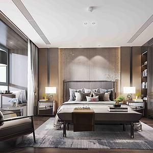新中式主臥室3d模型