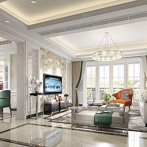 现代简欧客厅模型3d模型