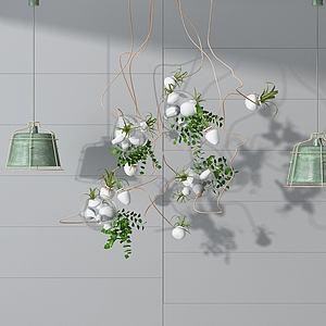 3d时尚田园清新吊灯模型
