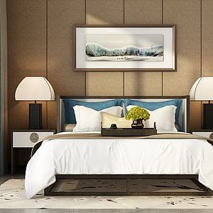 现代卧室双人床组合模型