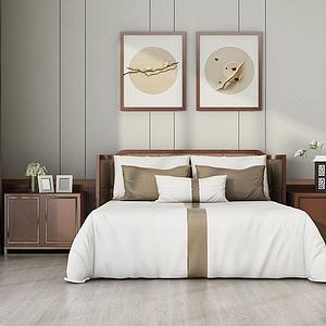 简约卧室双人床组合模型