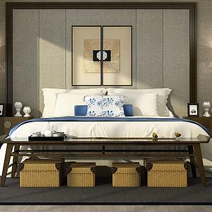 复古卧室双人床模型