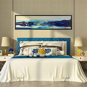现代简约卧室双人床模型