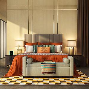 混搭卧室双人床模型