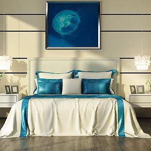 蓝色简约卧室双人床模型