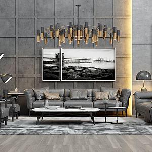 现代皮革沙发茶几组合模型