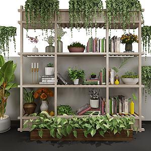 现代绿植盆栽架模型