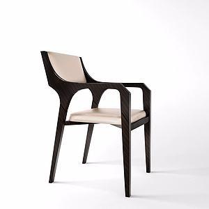 实木靠背椅模型