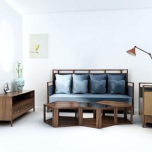 实木家具组合模型