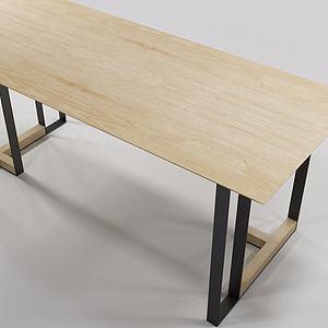 现代简约实木长桌模型