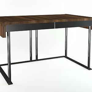 书桌实木桌模型