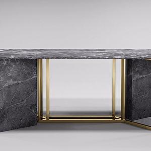 大理石金属边桌模型